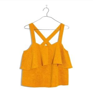 Madewell Texture & Thread Yellow Tiered Tank L